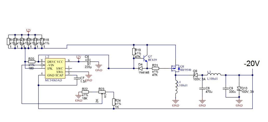 Dc dc converter negative supply avr freaks at first it seems that everything is ok but when i pluged the coil irf9540 got hot and died what wrong with the below circuit ccuart Choice Image