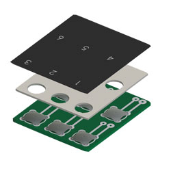 """Keystone Electronics, Tactile """"Key-Pad"""" Dome Switches, layer stack"""