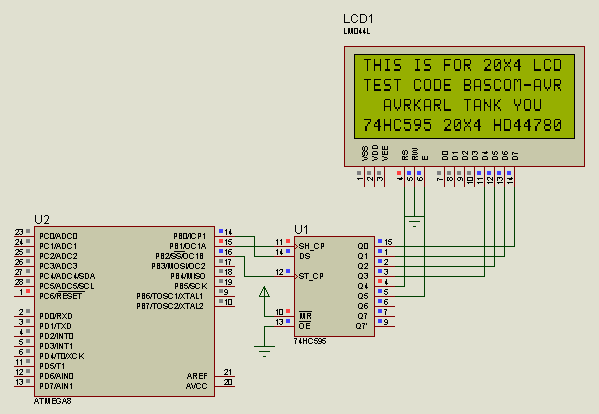 Library 3-wire serial lcd using 74hc595 for CodevisionAvr | AVR Freaks