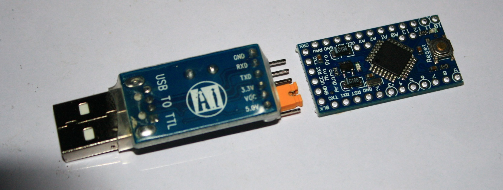 How do I program this Arduino Pro Mini with this CH340G USB