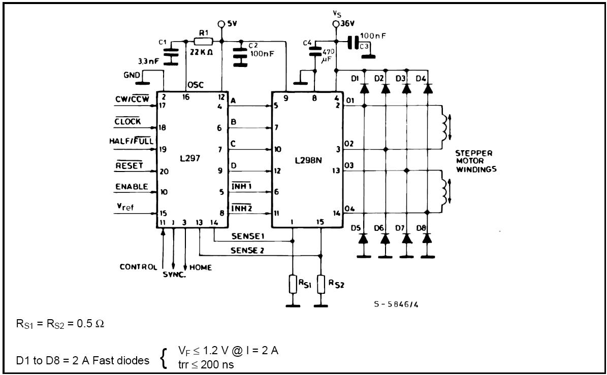 L298 Circuit Diagram Also With Bipolar Stepper Motor Driver Circuit