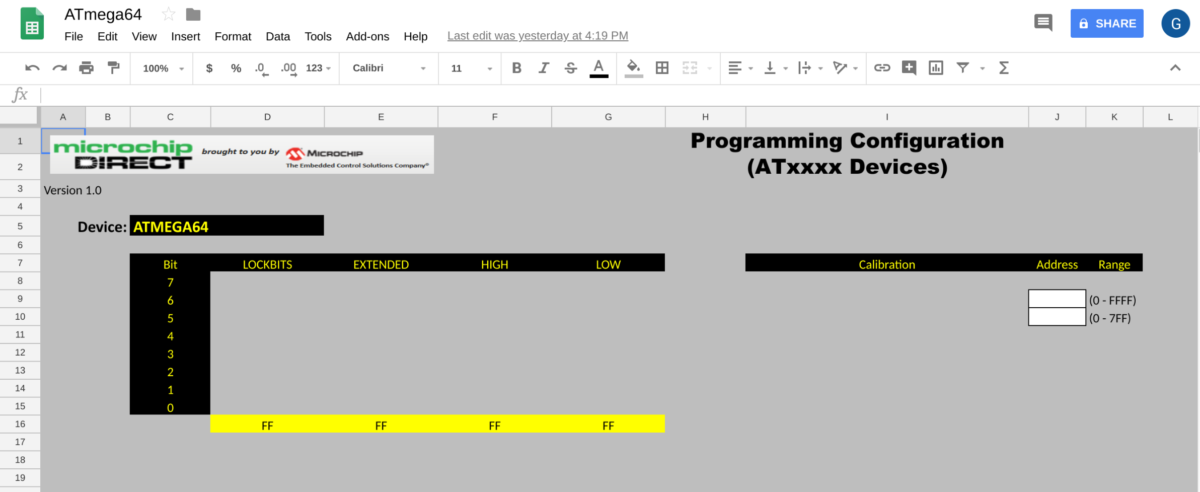 Google spreadsheet for ATmega64 at microchipDIRECT, fuses and calibration