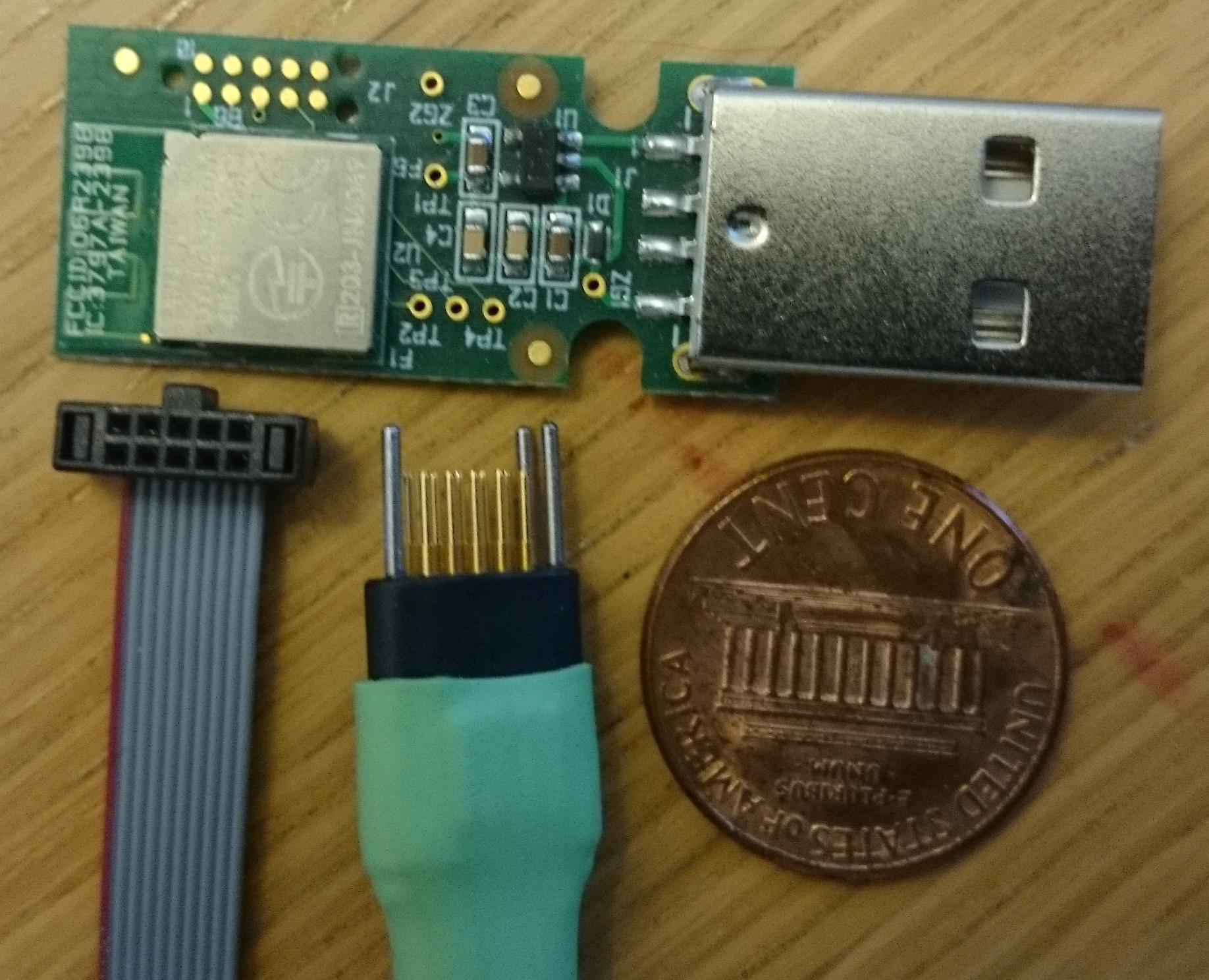 TagConnect disconnected from target board (with mini ARM connector for reference)