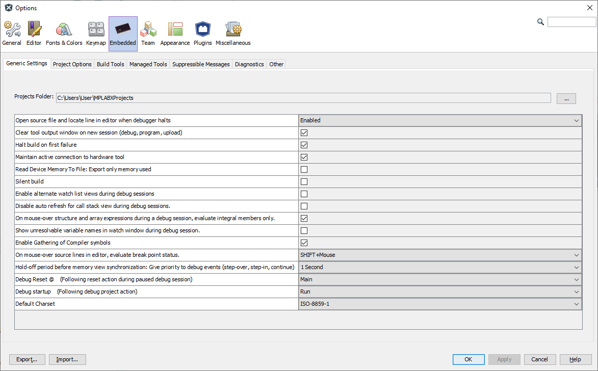 Tools Options Embedded
