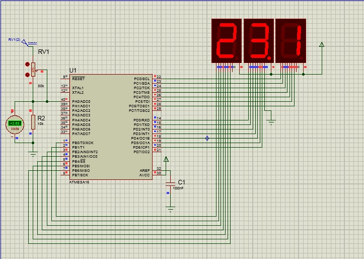 voltmeter with mega16 and display on 7segment | AVR Freaks