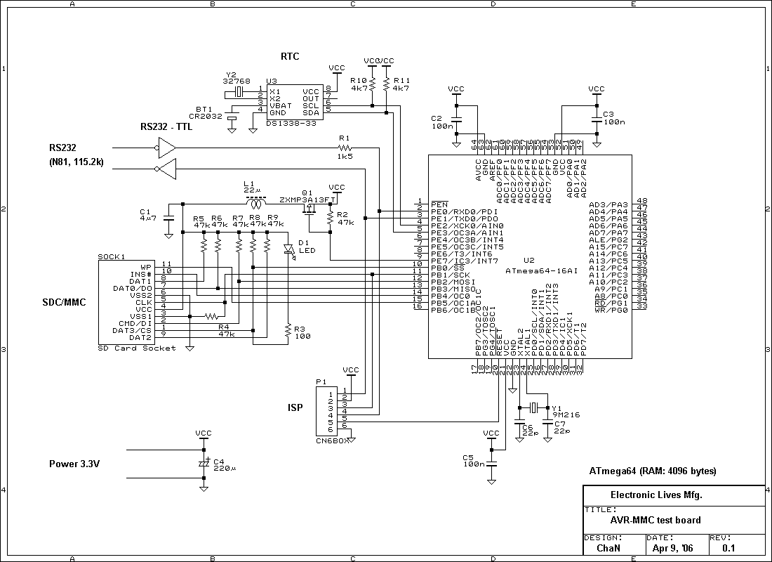 Sd Card Interface To Atmega16 Schematic Avr Freaks Microcontroller Project With Circuit Diagram Code Mmc