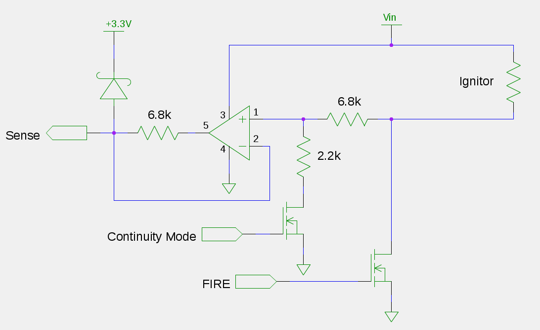 A draft continuity / current-sense circuit