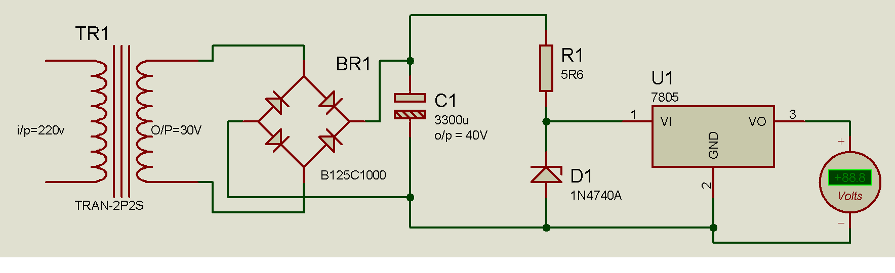 When Connected The Voltage Divider Network To 7805 Electronics Forum Gt Solved Proteus Circuit Simulation Issue 2 1331041547