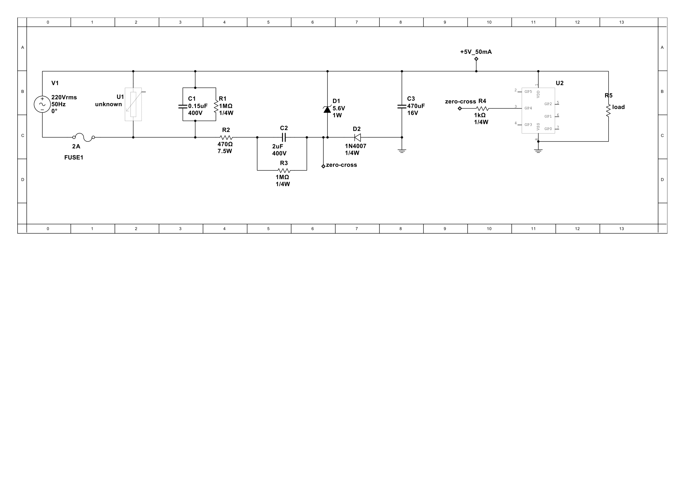 Capacitive Transformerless Supply With Zero Cross Detect Avr Freaks Circuit A Or Crossing Is An Ckt 1