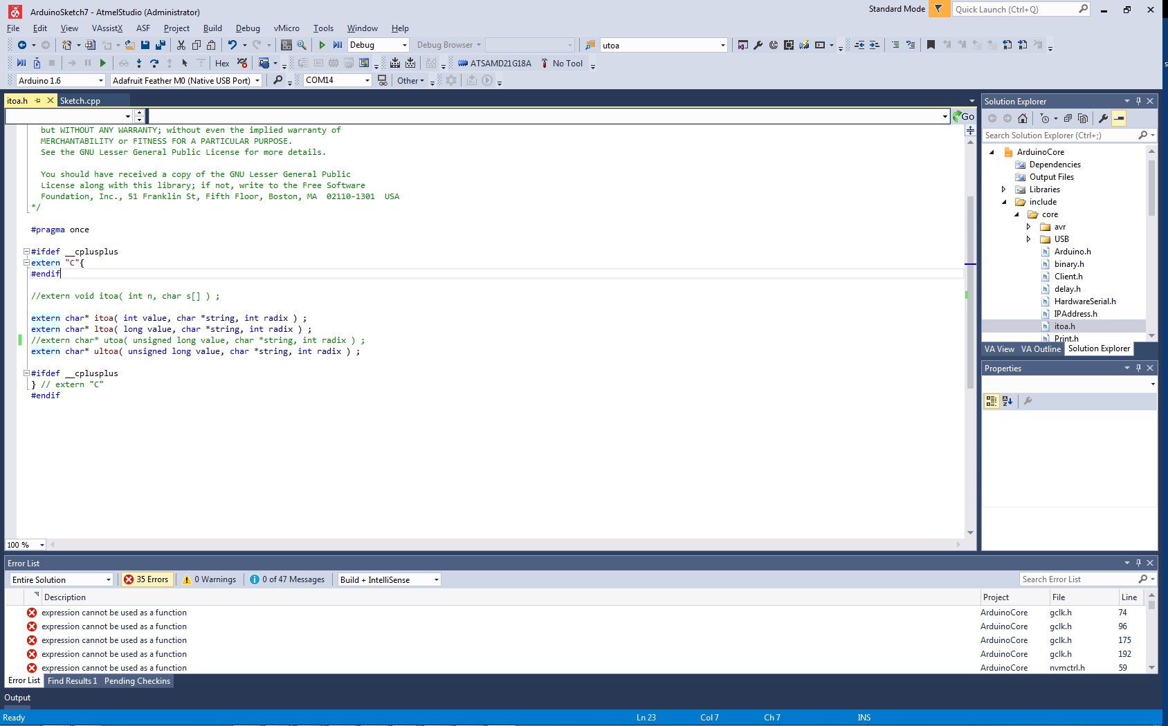 Arduino sketch blink o fails to compile in atmel studio