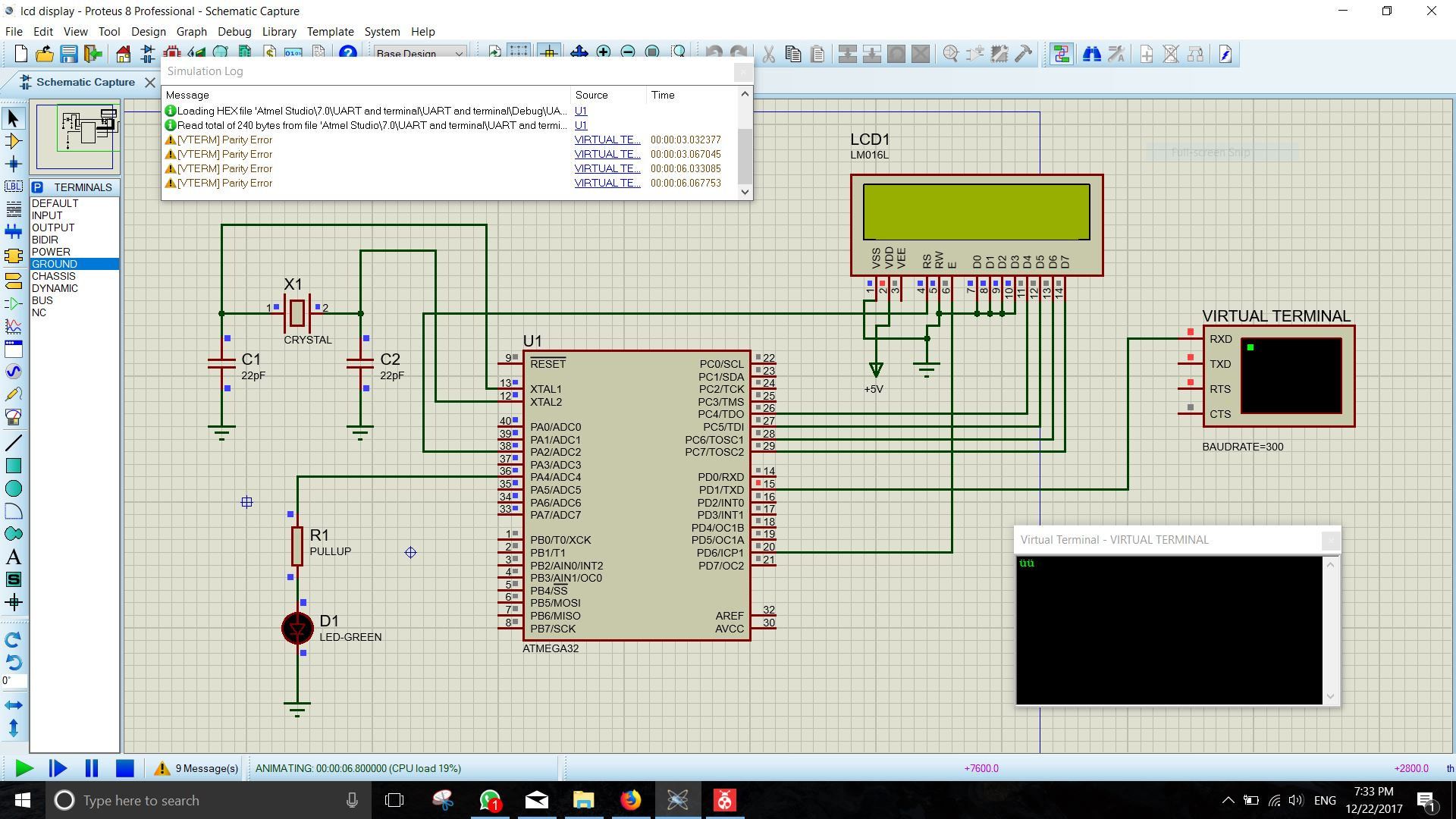 Atmega32 Uart Transmission Problem In Proteus Avr Freaks Working Portable Circuit Simulation Application 8 Professional
