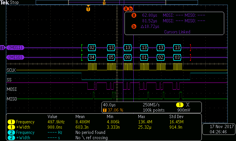 SAMD21 as SPI slave always lags behind on byte in a block transfer