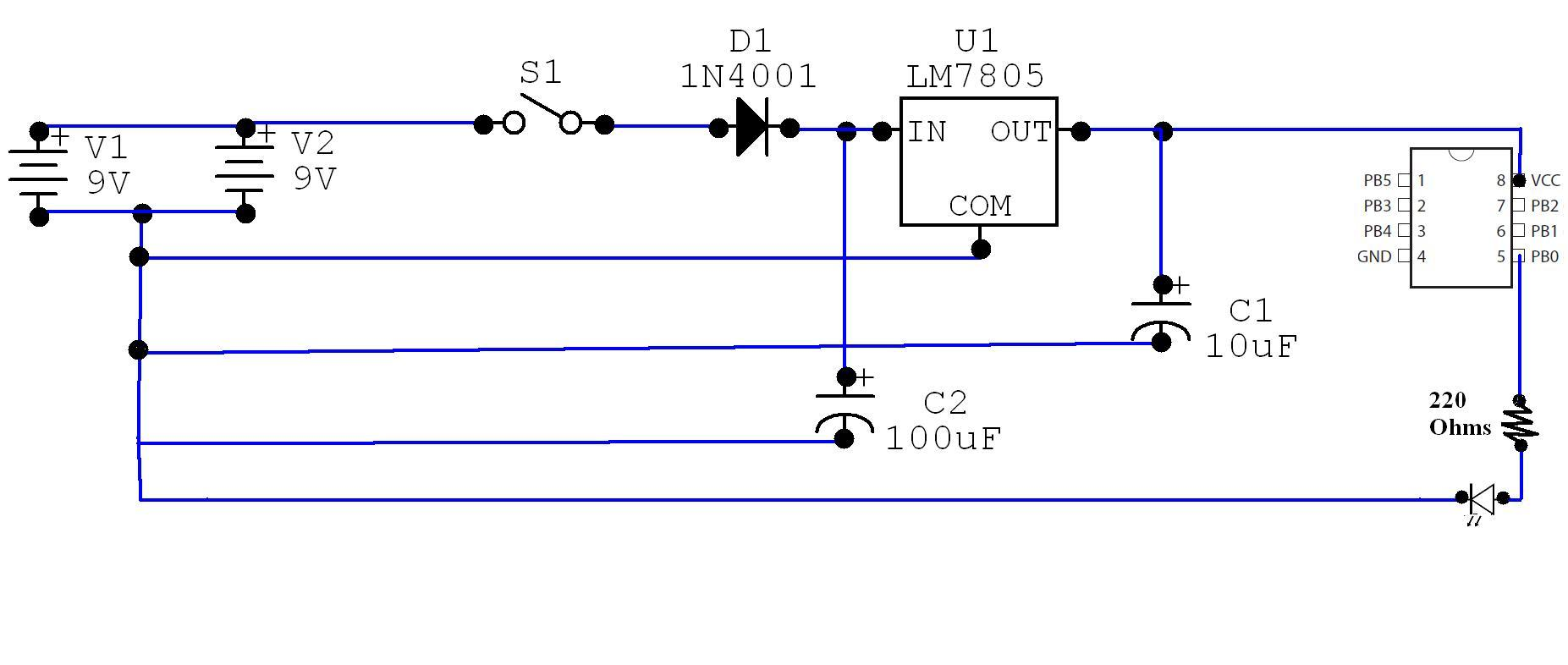 Powering Attiny85 With 9v Batteries Avr Freaks Battery Indicator Circuit Schematic Diagram