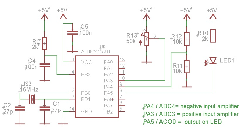 Attiny841 Internal Amplifier   Comparator Connection