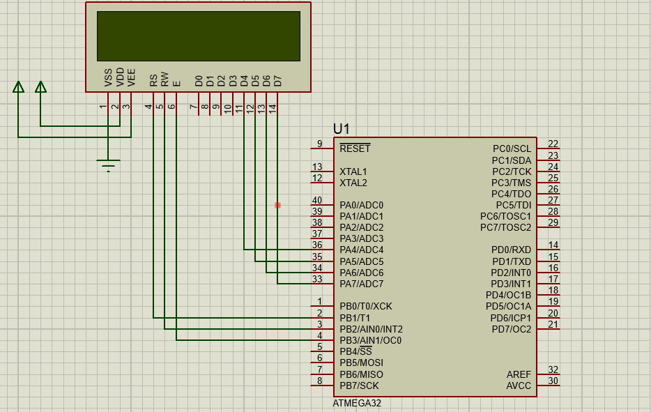 Connection and Simulation of an 16X2 LCD with AtMega32 , 4-bit mode