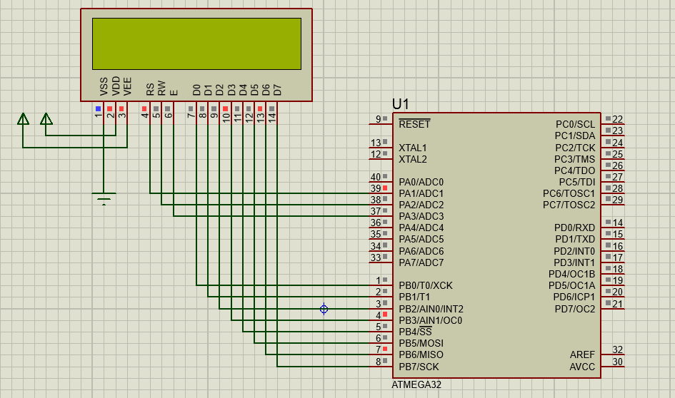 Connection and Simulation of an 16X2 LCD with AtMega32
